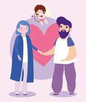 bearded man and woman in love with heart romantic cartoon vector