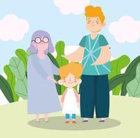 abuela familiar con adolescente y pequeño gandson juntos personaje de dibujos animados vector