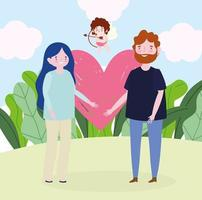 young couple heart love romantic cartoon image vector