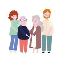 abuelos familiares y padres juntos miembro personaje de dibujos animados vector
