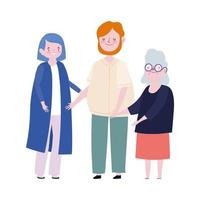 familia papá mamá y abuela personaje de dibujos animados vector