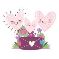 love mail envelope flowers romantic hearts cartoon card design vector