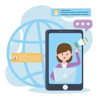 Mujer de teléfono inteligente en video con altavoz y computadora portátil trabajo marketing redes sociales y tecnologías de comunicación vector
