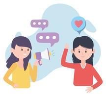 Mujer con altavoz megáfono promoción comunicación en redes sociales vector