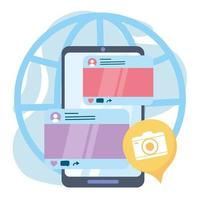 smartphone camera application social network communication and technologies vector