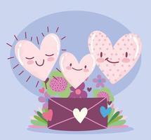 love romantic hearts cartoon envelope letter flowers floral decoration vector