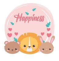 lindas caritas león oso conejo corazones dibujos animados animales vector