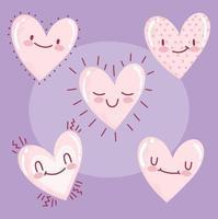 amor corazones romanticos dibujos animados feliz expresión iconos fondo morado