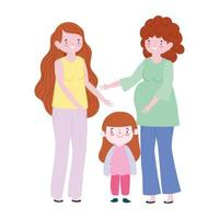 family pregnant woman mother and daughter together generation cartoon character vector