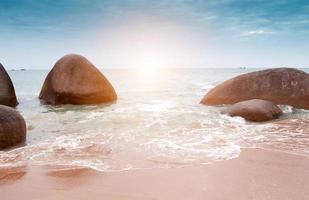 Waves on the tropical, exotic, sandy beach photo