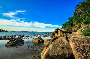 rocks panoramic tropical beach with coconut palm. Koh Samui, photo