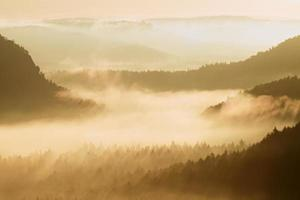 Autumn sunrise. Beautiful mountain of Bohemia. Treetops and peaks photo