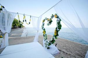 Wedding setting on a tropical beach