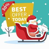 Design of santa claus in his sleigh with sale poster vector