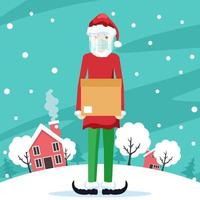 Young man dressed as a christmas elf making delivery with security protocols