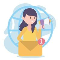 influencer marketing woman shouting in loudspeaker social network vector