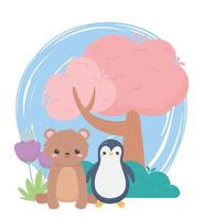 little penguin bear tree and flowers cartoon animals in a natural landscape vector