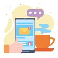smartphone hand likes email message vector