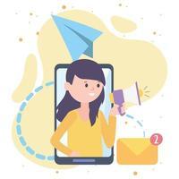 Mujer smartphone anunciar publicidad con megáfono, correo electrónico, redes sociales y tecnologías de comunicación vector