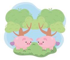 lindos cerditos y animales de dibujos animados de árboles en un paisaje natural vector