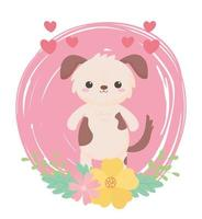 cute little dog flowers hearts cartoon animals in a natural landscape vector