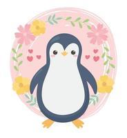 lindo pingüino flores corazones animal de dibujos animados vector
