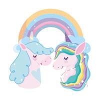 unicorns stars and rainbow dream magic decoration cartoon vector