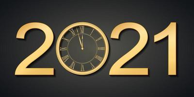 diseño de plantilla de banner web de año nuevo 2021 brillante negro y dorado. vector