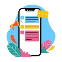smartphone con megáfono y bocadillo