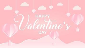 paper cut style happy valentine's day design