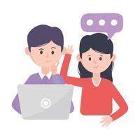Hombre con portátil mujer charlando hablar de tecnologías y comunicaciones de redes sociales vector