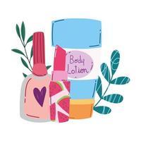 makeup cosmetics fashion beauty body lotion lipstick and nail polish products vector