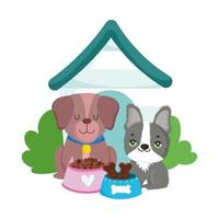pet shop, cute little dogs with food and house animal domestic cartoon vector