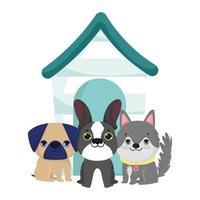 tienda de mascotas, lindos perritos sentados con casa de madera animal dibujos animados domésticos vector