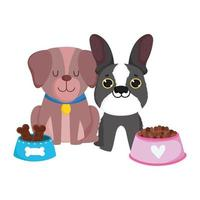 pet shop, dogs different breed house and food animal domestic cartoon vector