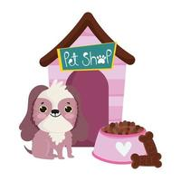 pet shop, cute dog sits with cookie food and house animal domestic cartoon vector