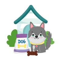 pet shop, cute puppy sitting with food and house animal domestic cartoon vector
