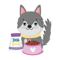 pet shop, puppy with bowl package food animal domestic cartoon vector