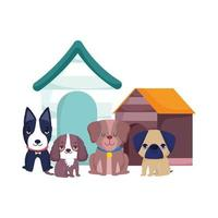pet shop, cute little dogs sitting different breed and houses animal domestic cartoon vector