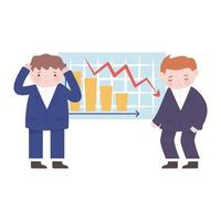 bankruptcy unhappy businessmen with financial arrow downwards chart vector