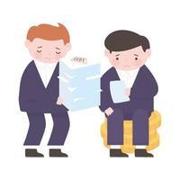 Empresarios de quiebra con monedas y papel de la deuda vector