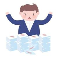 bankruptcy worried businessman with debt stacked papers vector