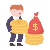 bankruptcy sad businessman holding coins vector
