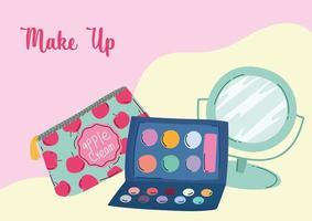 maquillaje cosméticos producto moda belleza cosmética bolsa espejo sombra de ojos paleta vector