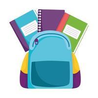regreso a la escuela, mochila, libros, educación primaria, dibujos animados vector