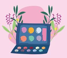 maquillaje cosméticos producto moda belleza paleta de sombras de ojos vector