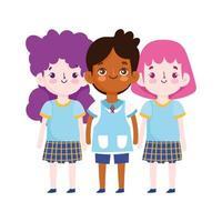 regreso a la escuela, estudiantes personajes de dibujos animados dibujos animados de educación elemental vector