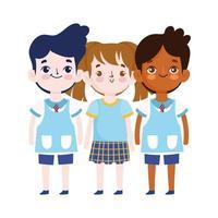 regreso a la escuela, estudiantes niñas y niños personajes de dibujos animados dibujos animados de educación elemental vector