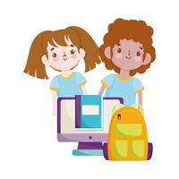 back to school, student boy and girl backpack computer textbook elementary education cartoon vector