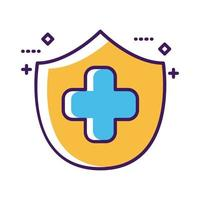 símbolo de cruz médica con línea de escudo y estilo de relleno